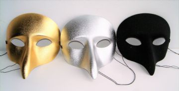 PULCINELLA EYE MASKS IN GOLD SILVER & BLACK